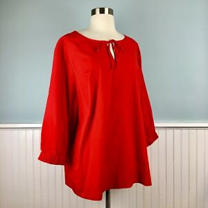 Size-1X-Martha-Stewart-Red-3-4-Sleeve-Peasant-Top-Blouse-Shirt-Women-s-Plus-NEW