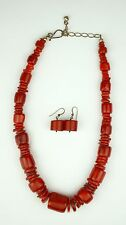 Red Coral Necklace and Matching Earrings Chunky Big Vintage Pair of Set Jewelry