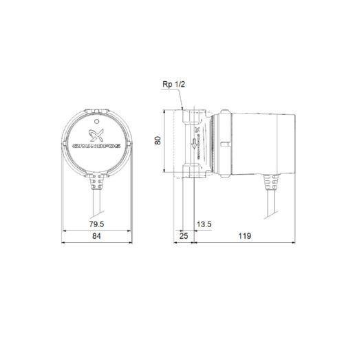 Grundfos Zirkulationspumpe Comfort PM UP 15-14 B PM DE DE DE 97989265 0070c3