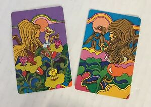 Vtg-Psychedelic-60s-Women-Western-Whitman-Playing-Cards-Imperial-Diamond-Coat
