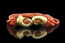 Manfredi 18 Karat Yellow Gold & Multi-Strand Red Coral Bracelet 20th Century