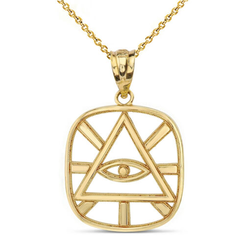 10k Yellow Gold Eye of Providence All Seeing Eye of God Pyramid Pendant Necklace