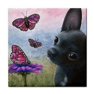 Dog-91-Chihuahua-Butterfly-Large-Ceramic-Tile-6x6-Made-USA-art-L-Dumas
