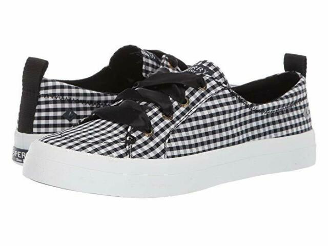 Sperry Womens Crest Vibe Black White Gingham Checked Sneakers Size 7.5
