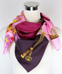 6f3567761a9 Gucci Women s Large Pink Burgundy Handbag Patchwork Print Silk Scarf ...