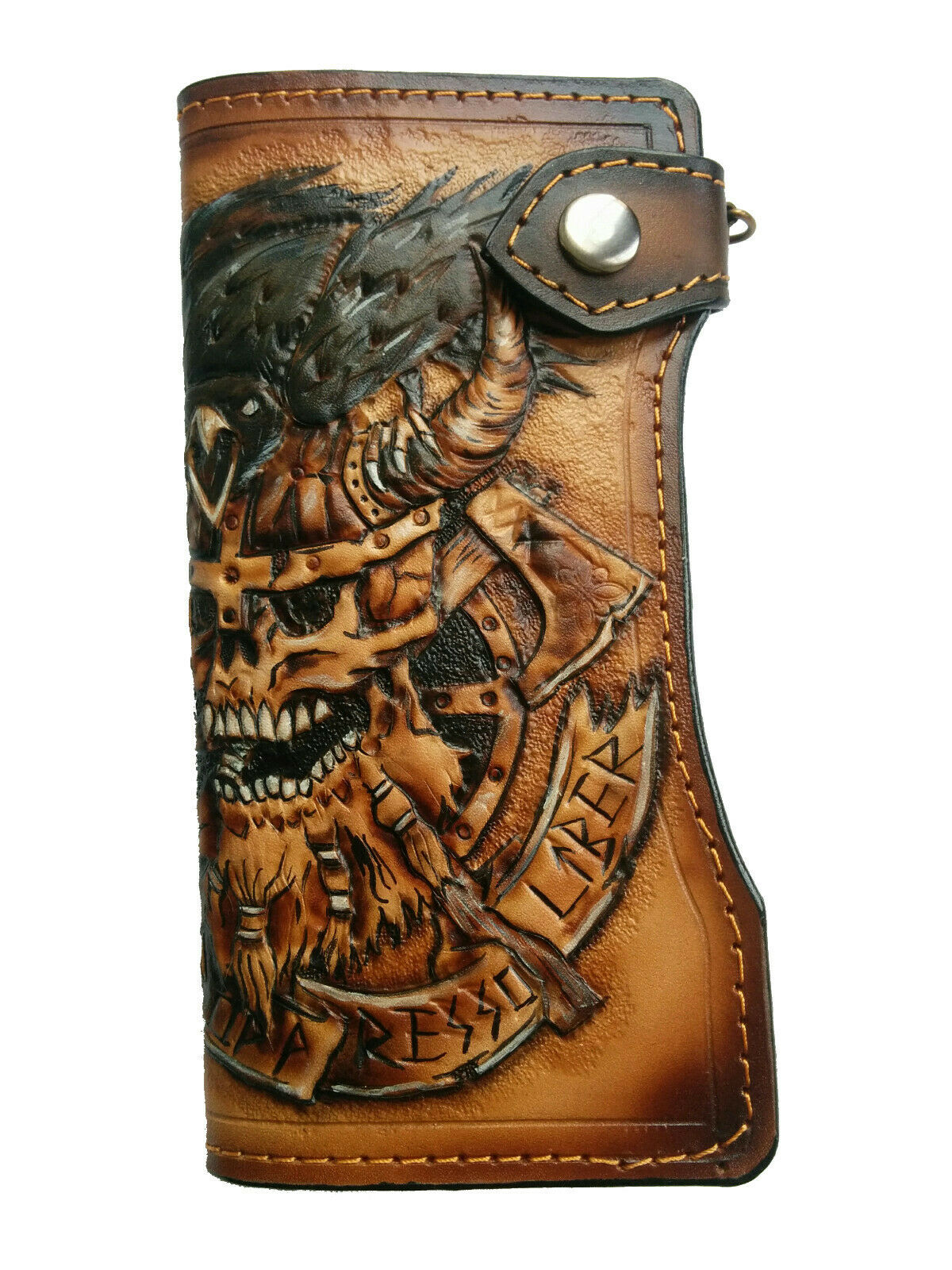 3D Leather Long Wallet, Hand-Carved, Airbrush Art, Viking, Crow, Skull, Initials