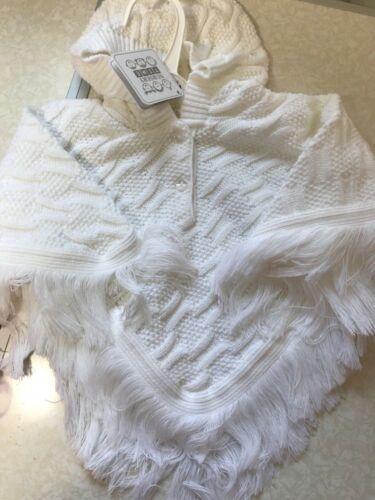 Baby Spanish Knitted Poncho Cardigan White Newborn 0-3 3-6 6-12 12-18 18-24 Mths