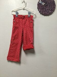 df89f43825b Girl sl pants size 4T red white polka dots elastic back adjust hem ...