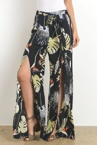 e11ff159579 Image is loading Women-High-Slit-Flow-Layered-Palazzo-Pants-Loose-