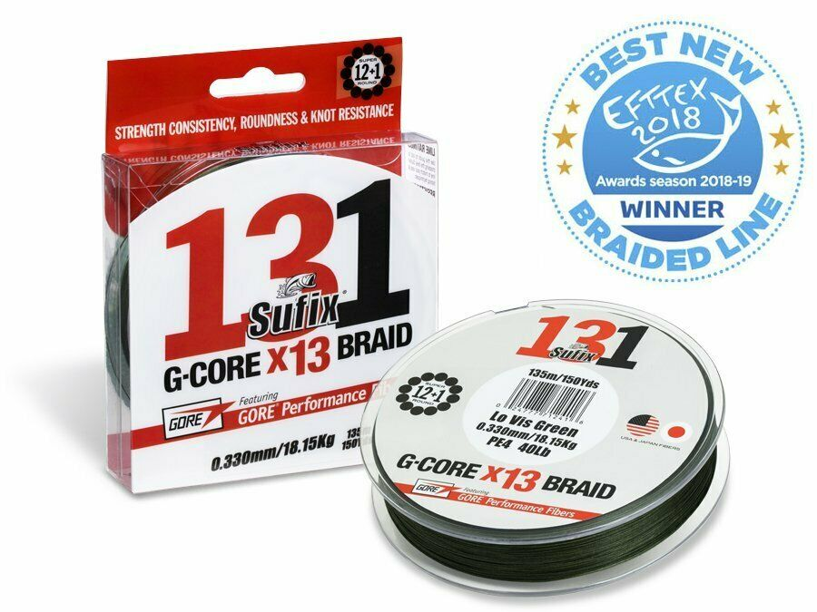 Sufix 131 G-Core Braid Lo-Vis Grün 150m 0,12mm - 0,23mm Braided line NEW 2019