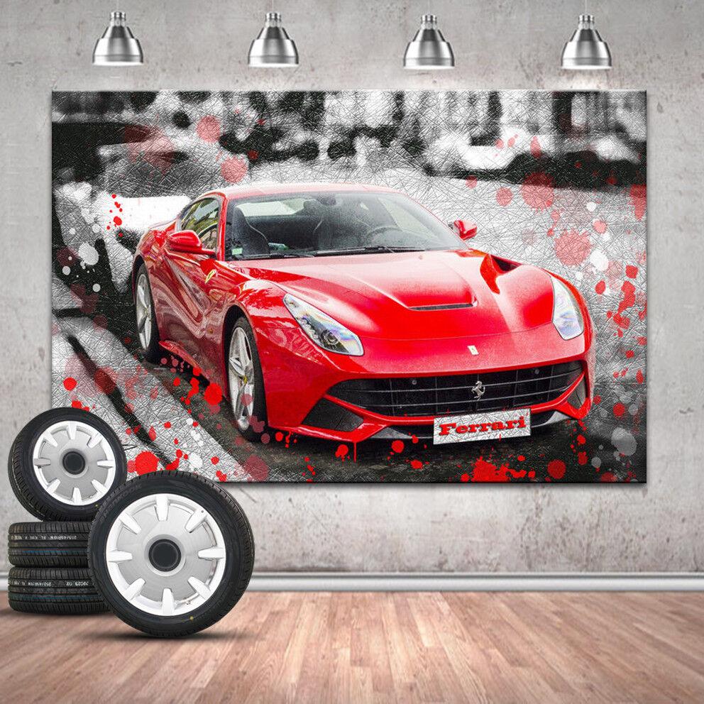 Ferrari Sportwagen Auto Abstrakt Deko Bilder Leinwand Kunst Wandbild 1313A