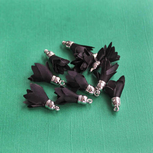 5 Tassels Black Polyester Silver Tone Cap Z356