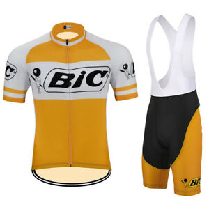 830e0974214 BIC Retro Cycling Jersey Bib Short Pant Team Bike MTB Road Short ...