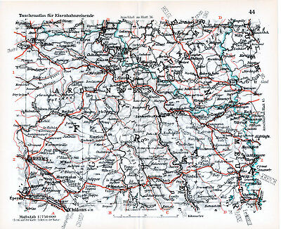 Arlon Virton Bouillon Reims Longwy 1927 Kl. Orig. Eisenbahnkarte Rethel Verdun