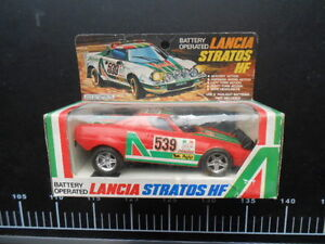 COOL-Vintage-Battery-Operated-Plastic-Lancia-Car-Stratos-HF-RALLY-Alitalia