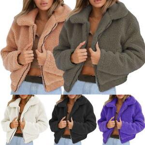 Parka Sweater Plüsch Sweatshirt Winter Jacke Mantel Damen Shaggy vaB0qp