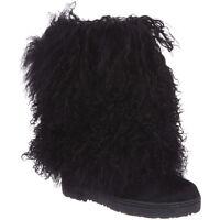 Women Bearpaw Boetis Ii Curly Hair Upp Boot 1294w Black 100% Authentic Brand