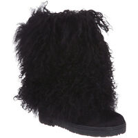 Women Bearpaw Boetis Ii Curly Hair Upp Boot 1294w Black 100% Authentic Brand