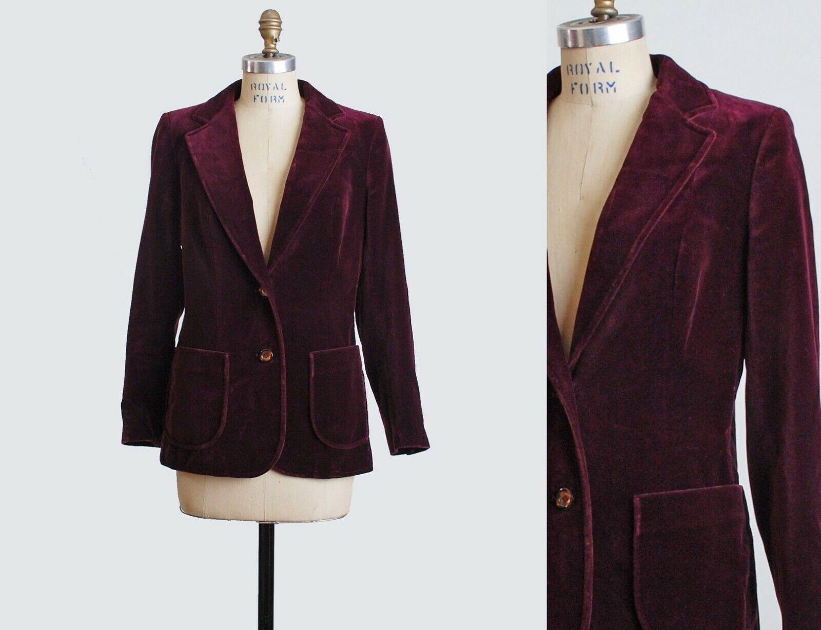 VTG 70s Burgundy Red Velvet Blazer Jacket Velvet … - image 1