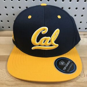 California Golden Bears Top Of The World Snap Back Hat EUC Flat Bill Cap TOW