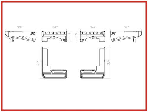 Ratel-x 110 Defender Parachoques Trasero bumperettes esquina paso 6 mm acero Land Rover