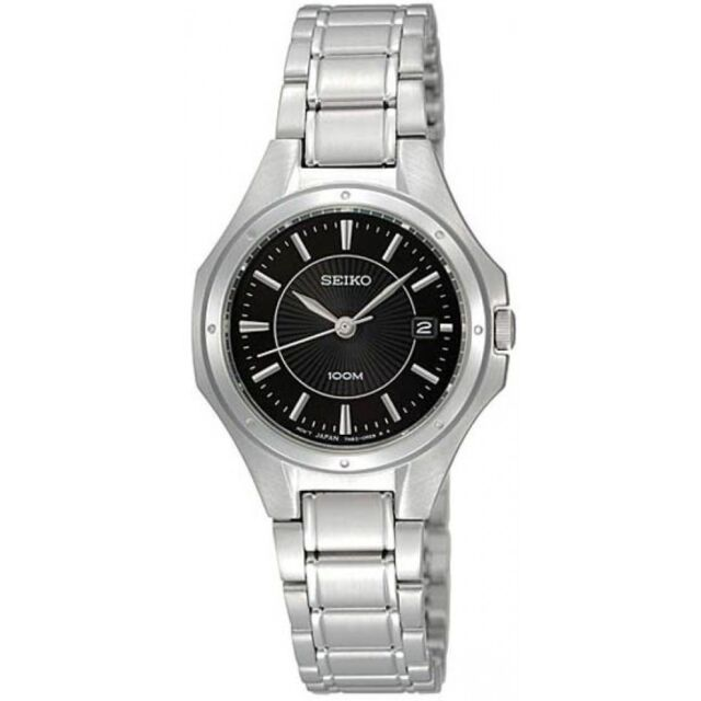 NEW SEIKO SXDE13 Women's Stainless Steel Black Dial Casual Analog Watch