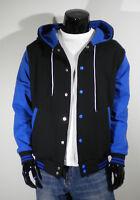 Mens New Hoodie Varsity Baseball Jacket Black&Blue S,M,L,XL,2XL Letterman