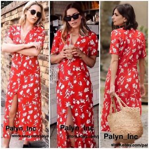 a3737aa56b5 NWT ZARA SS18 FLOWING PRINTED LONG FLORAL PRINT DRESS RED 2183 054 ...