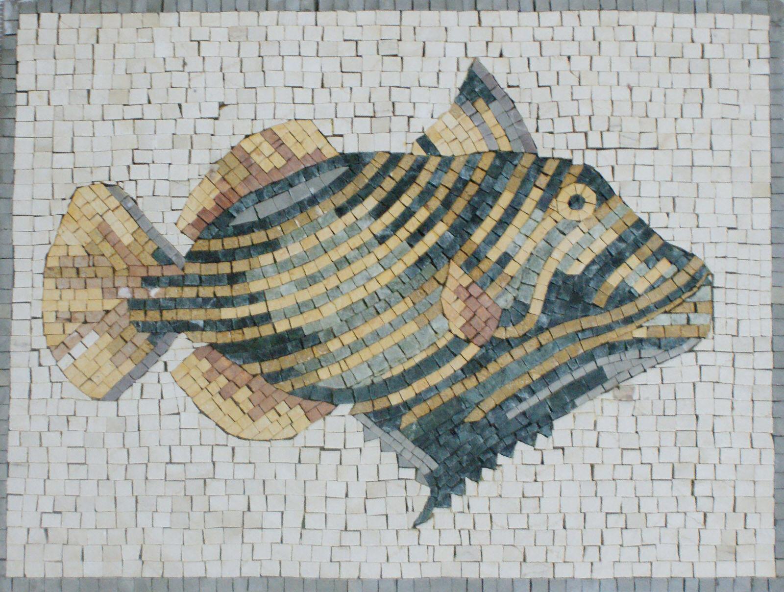 Floral Decor Farbeful Fish Sea Creatures Art Tile Stone Marble Mosaic AN931
