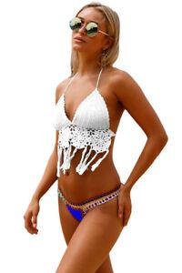Costume Da Bagno Aperto Uncinetto Crochet Bikini slim sling Swimwear ...