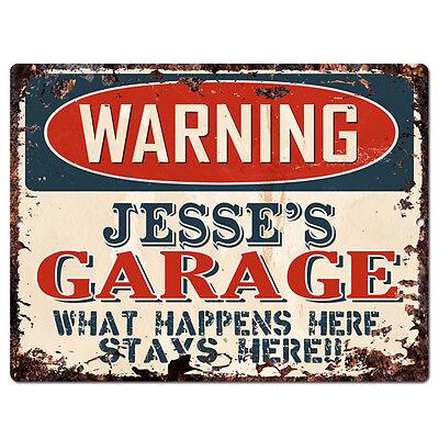PPFG0684 WARNING DAVIS/'S GARAGE Tin Chic Sign man cave Decor Funny Gift
