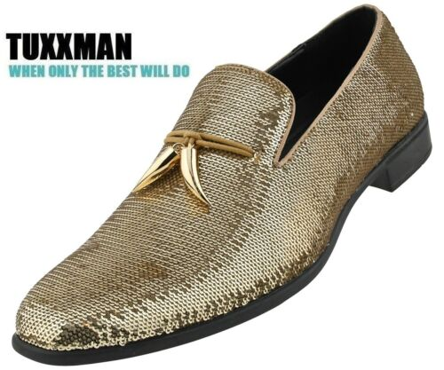 Men/'s Gold Sparkling Sequin Loafers Dress Shoes Slip on Metal Tassels TUXXMAN