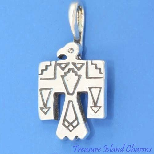 THUNDERBIRD Native American Indian Bird .925 Solid Sterling Silver Charm Pendentif
