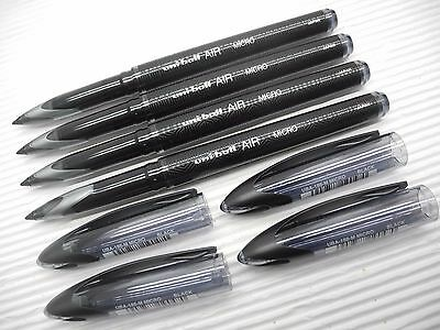 (3 Black 3 Blue) UNI-BALL UBA-188M 0.5mm roller ball pen  with cap (Japan)