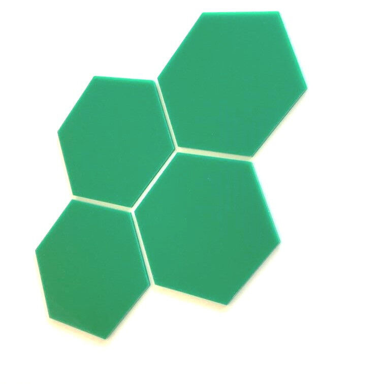 Hexagonal Acrylic Wall Tiles - Grün