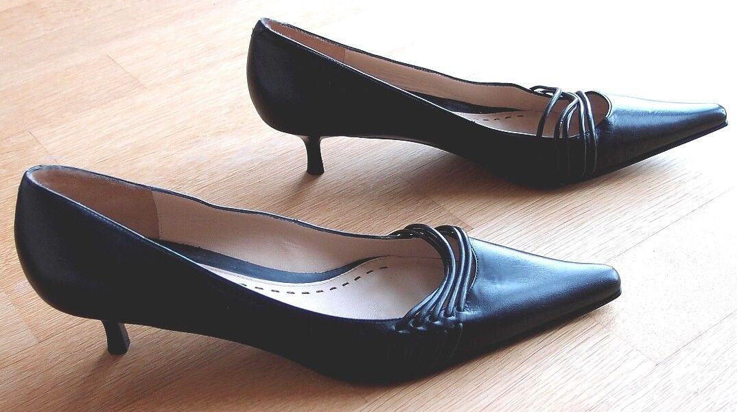UNISA - Pumps Schuhe Halb Schuhe Pumps - Leder - spitz - Farbe: schwarz - Größe: 40 ( 6,5 ) 3143a0