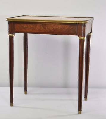 French Style Rose Marble Top Console Table Fl Inlay Tapered Legs Circa 1930