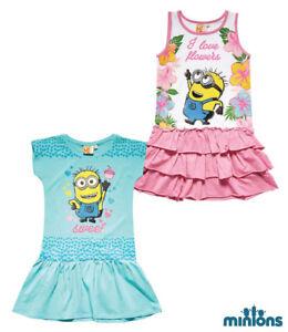 Children-Mini-Dress-Tunic-Girl-Minions-Dress-Turquoise-Pink-116-128-140-152-810