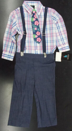 Toddler /& Boys Young Kings $54 Navy /& Pink Plaid Suit w// Suspenders Size 2T 7