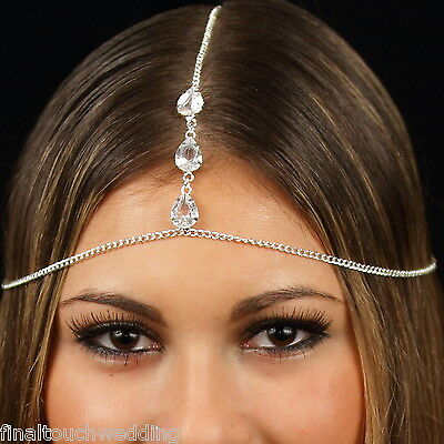 Head chain 3 diamante rhinestone headpiece hair jewelry headband bridal Gatsby