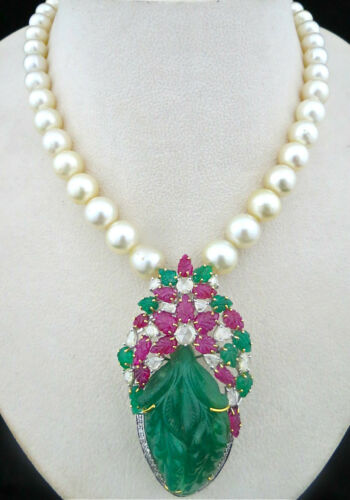 IMPORTANT VINTAGE OLD EMERALD CARVED RUBY DIAMOND PEARL 18KGOLD PENDANT NECKLACE