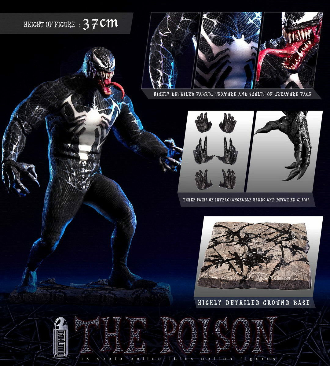 Pre-order 1/6 Scale Bullet Head BH002 THE POISON Venom 12in Action Figure