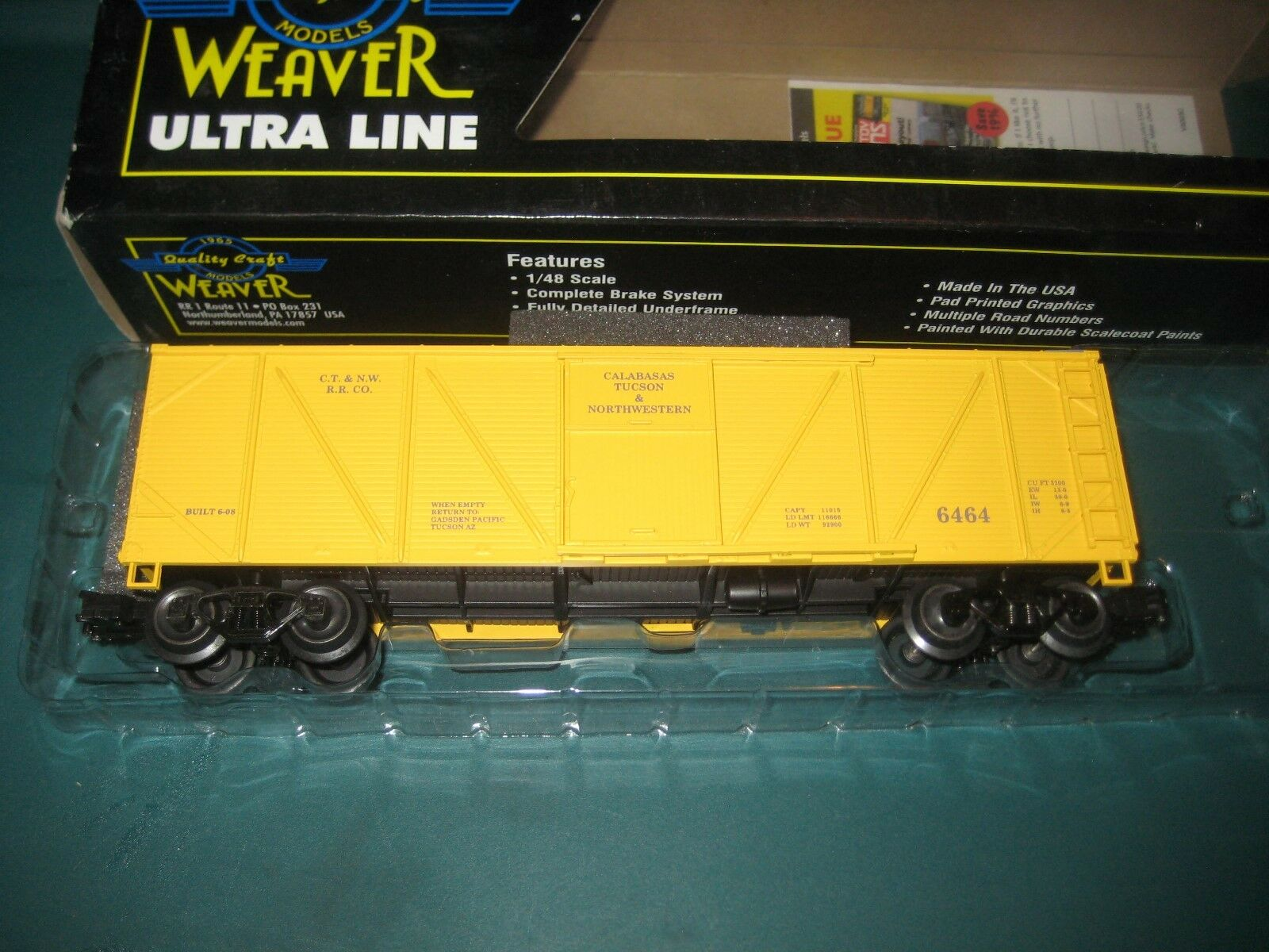 NEW WEAVER O GAUGE,3-RAIL, GAUGE,3-RAIL, GAUGE,3-RAIL,  6464 CALABASAS TUCSON & NW OUTSIDE BRACED BOXCAR 863a53