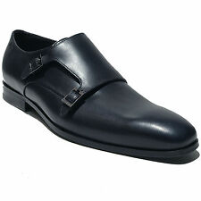 HUGO BOSS Navy Blue Monk Strap Leather Dress Formal Oxford 11 44 Men's Casual