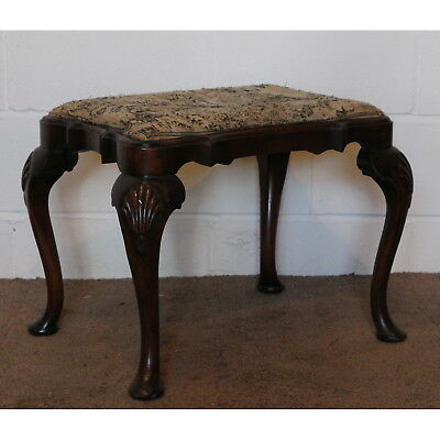 Benches/stools A Quality Georgian Style Irish Walnut Shaped Footstool Shell Mouldings Modern Techniques Edwardian (1901-1910)