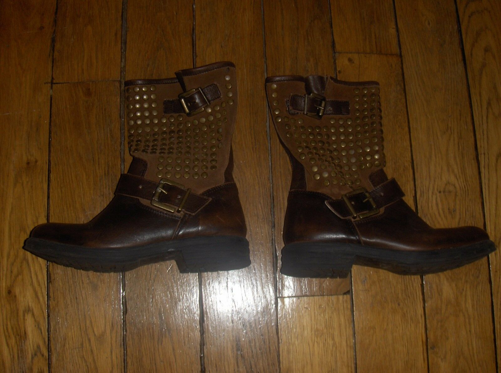 BELLES BOTTINES CLOUTEES EDEN chaussures TAILLE 36 COULEUR MARRON 100% CUIR