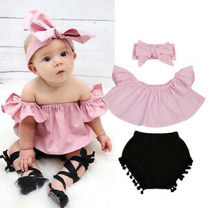 eac4fcced4489 Newborn Baby Girl Clothes Set Off Shoulder Top T-Shirt+Shorts Pants ...
