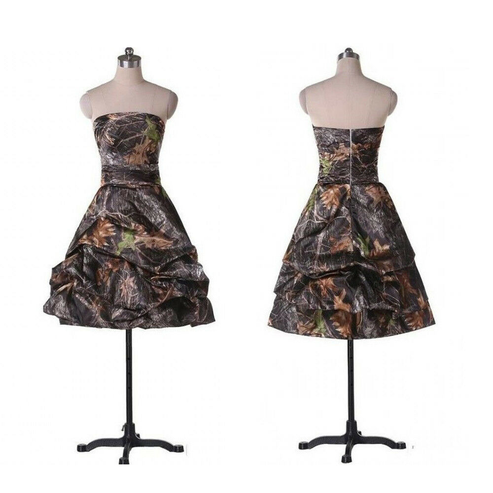 2018 Camo Wedding Dresses Formal A Line Camouflage Orange Bow