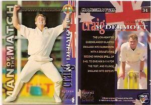 CRICKET CRAIG McDERMOTT 1995 FUTERA ASHES ELITE No 34 Man of Match 2nd Test