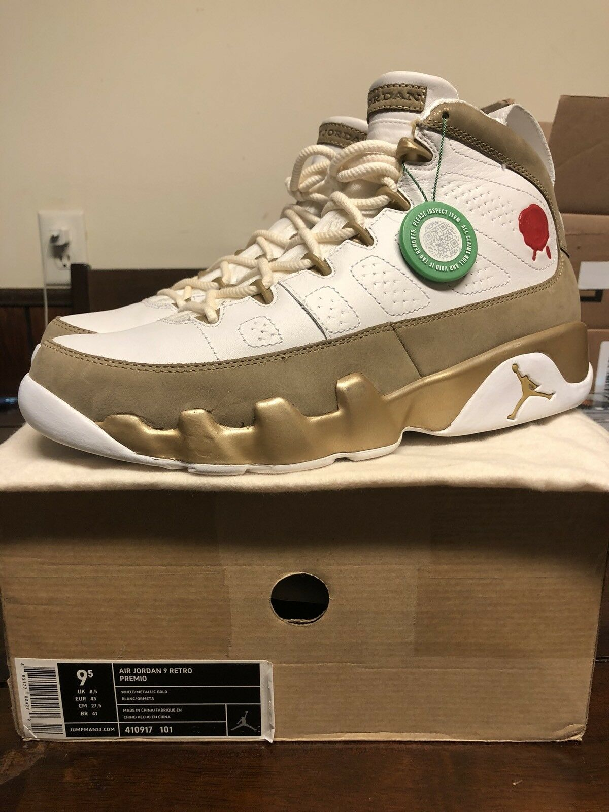 Nike Air Jordan 9 Retro Premio Bin 410917-101 Size 9.5 New 100% Authentic